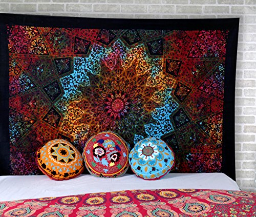 Psychedelic Bohemian Tapestry, Tie Dye Star Wall Hanging, Cotton Hippie Wall Decor Art, Indian Traditional Boho Mandala Tapestries by Rajrang