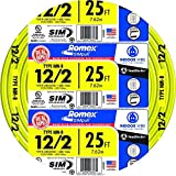 Southwire 28828221 25' 12/2 with ground Romex brand SIMpull residential indoor electrical wire type NM-B, Yellow