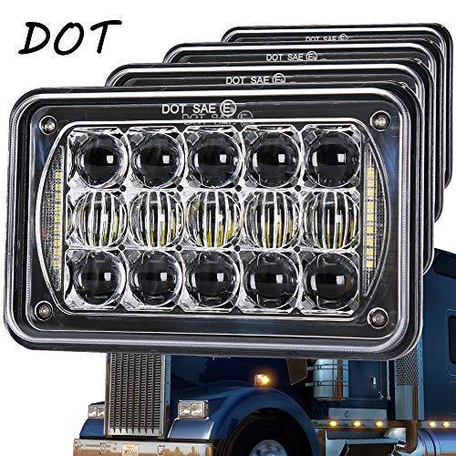 Newest Lens 60W 4x6 Inch LED Headlights with DRL for H4651 H4652 H4656 H4666 H6545 Freightliner Kenworth Peterbilt International Volvo Sterling Western Star Mack(Chrome 4Pcs)