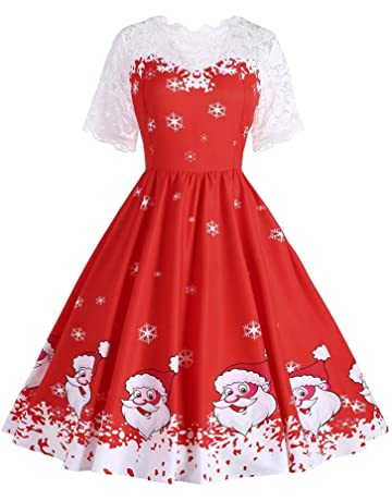 Ulanda-EU Womens Vintage Dresses Ladies Short Sleeve Lace Patchwork  Christmas Printing Dress Cocktail Swing bebcc9fc4b99