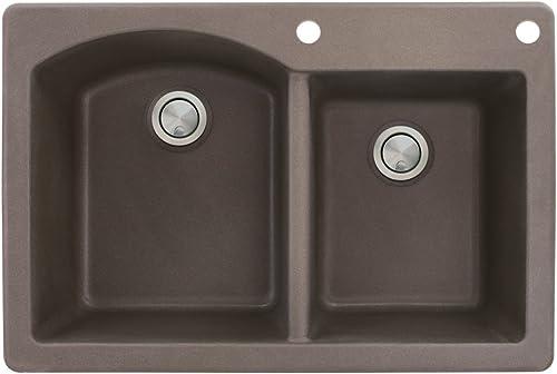 Transolid ATDD3322-12-BE Aversa Granite 2-Hole Drop-in Double-Bowl Kitchen Sink, 33-in L x 22-in W x 8.8125-in H, Espresso