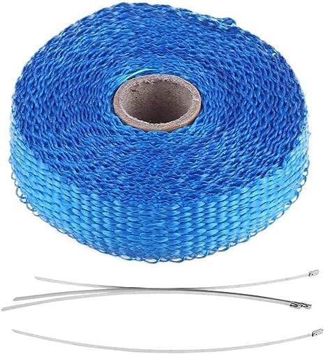 Akozon Involucro di calore del nastro di scarico del calore Avvolgimento di calore del nastro elettrico per auto da 5 m Avvolgimento di calore con 4 fascette in acciaio inossidabile blu