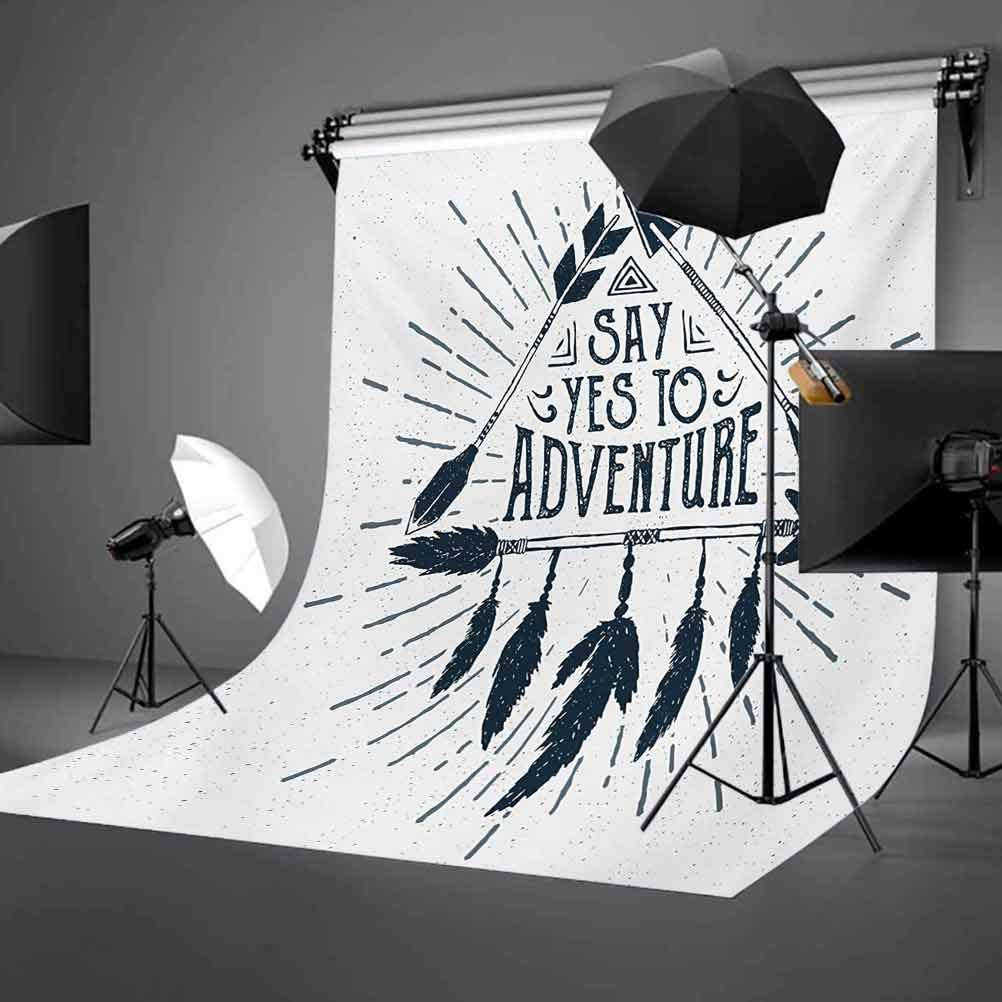 Adventure 6x8 FT Backdrop Photographers,Adventure Quote in Hand Drawn Tribal Frame with Arrows and Feathers Artwork Background for Party Home Decor Outdoorsy Theme Vinyl Shoot Props Indigo