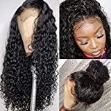 YMS Glueless Lace Front Human Hair Wigs for Black Women Curly Brazilian Virgin Hair Lace Front Wig with Baby Hair Pre Plucked(18 inch with 130 density,Lace Front Wig)