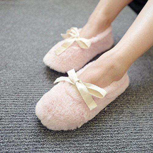 Womens Comfort Pluche Fleece Traagschuim Ballerina Huis Slippers W / Antislip Zolen Roze