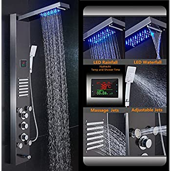 ELLO&ALLO Stainless Steel Shower Panel Tower System, LED