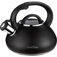TENGXIN Whistling Teakettle, 2.1 Quart,Food Grade,Stainless Steel Material,Black Finished Teapot,Anti-Hot Handle and Anti-Rust, Suitable for All Heat Sources.