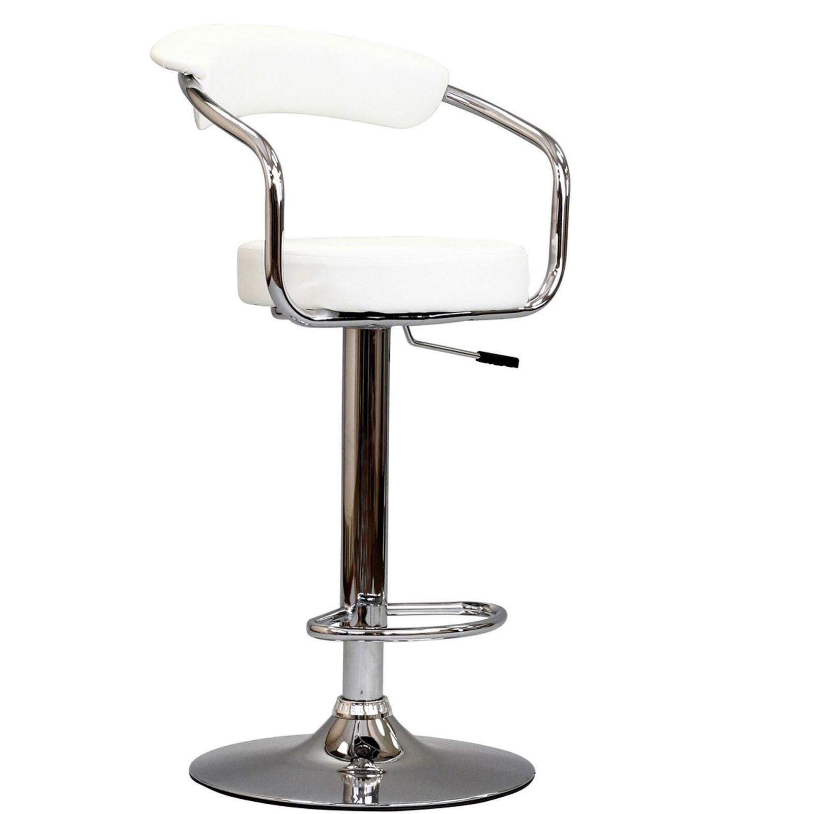 Modway Diner Retro Faux Leather Adjustable Bar Stool in White