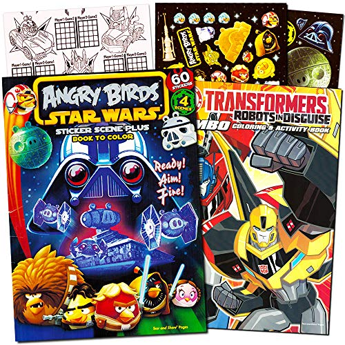 Angry Birds and Transformers Coloring Book Bundle with Angry Birds Stickers ~ 1 Angry Birds Star Wars Coloring Book with Stickers, 1 Transformers Coloring and Activity Book (Kids Party Supplies) -