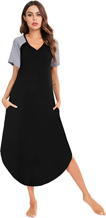 Aibrou Camisón Mujer Verano Manga Corta Camisones Largo de 95% Algodón para Dormir, Playa, Hogar Loungewear Elegante: Amazon.es: Ropa y accesorios