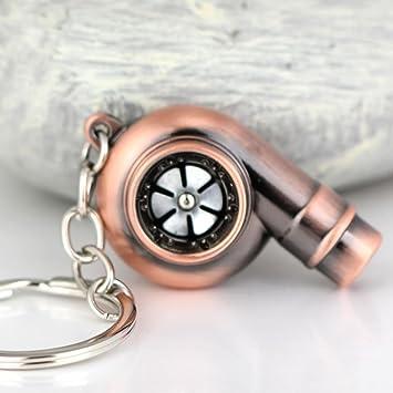 Creative Funda Spinning Turbo Turbina Turbocompresor Llavero Anillo llavero llavero Keyfob Llavero Silbato de realmente hacer