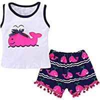 JIA&DI Baby Girls Tops Vest Printed Cartoon Whale T-Shirt+Tassel Pants Hairball Shorts Summer Outfits