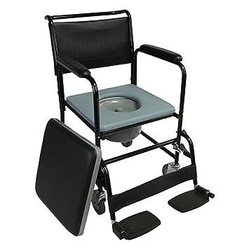Mobiclinic Silla con WC/Inodoro con Ruedas y Tapa | Reposapiés abatibles y reposabrazos extraibles | Negro | Barco: Amazon.es: Salud y cuidado personal