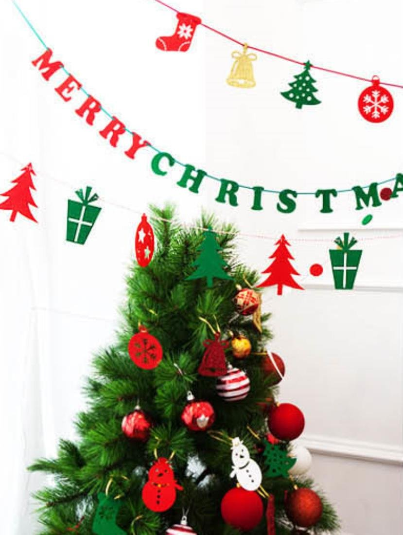 Merry Christmas DECOLUV DIY Party Banner DIY Bunting Banner Decoration Party Garland