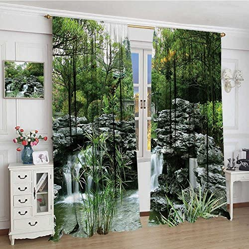 youpinnong Japanese Room Darkening Wide Curtains Asian Yard Little Lake Between Trees Stones in Autumn Season Natural Wilderness Decor Curtains by 72 x84 Green White
