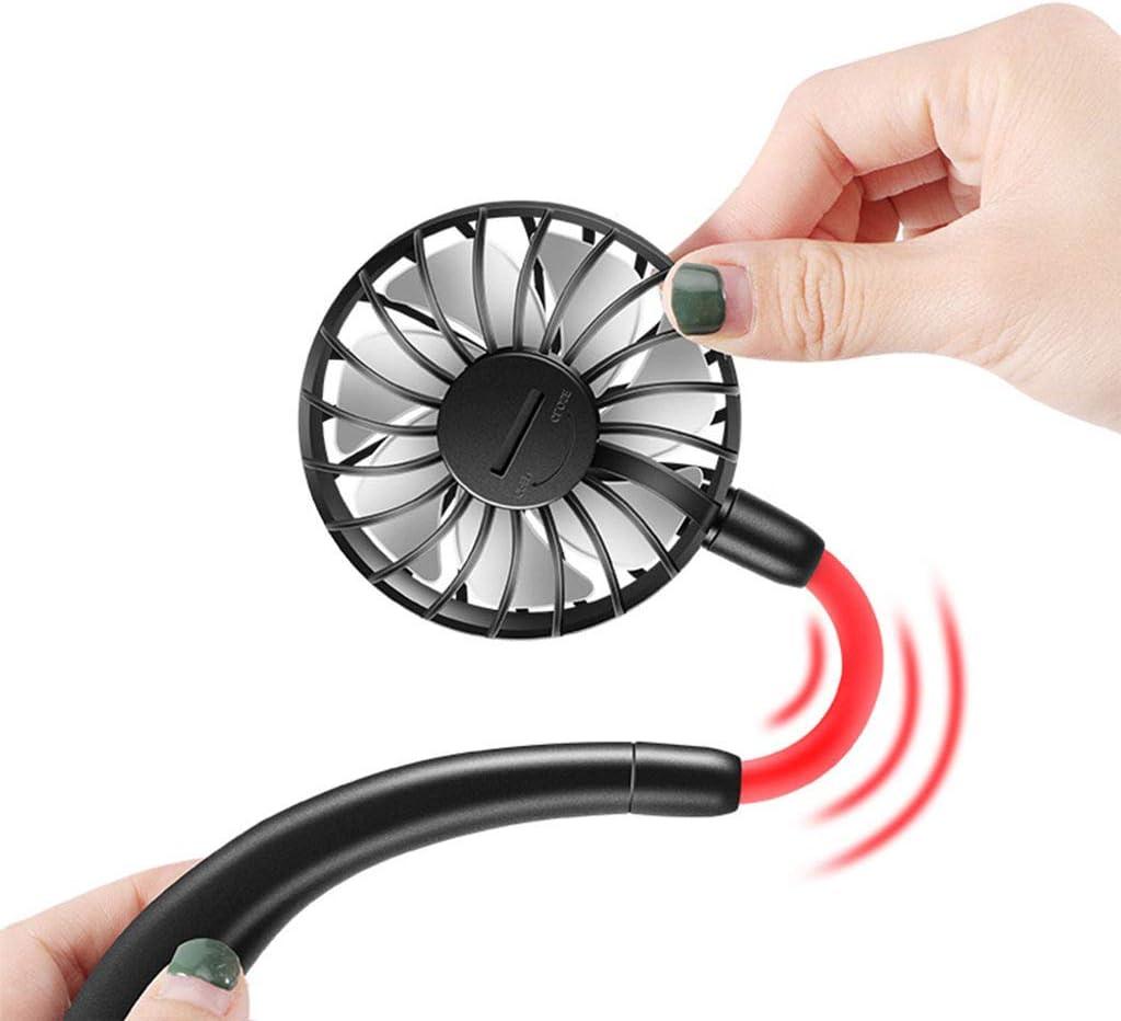Travel Fan Pocket Fan ALIMIGO Portable Sports Hanging Fan,USB Rechargeable Hands-Free Mini Fan Earphone Design Mini USB Fan-Pink-260180Mm