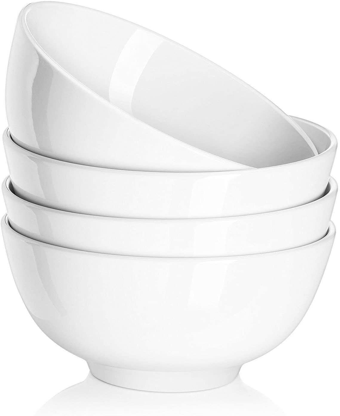 DOWAN 22 Ounces Porcelain Soup Bowls, Cereal Bowls, 4 Packs, White