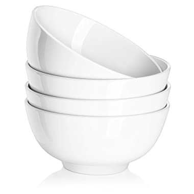 DOWAN 22oz Porcelain Soup/Cereal Bowls - 4 Packs, White