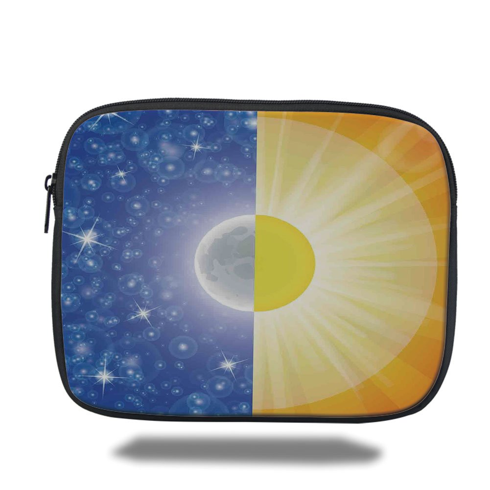 Laptop Sleeve Case,Apartment Decor,Split Design with Stars in the Sky and Sun Beams Light Solar Balance Image,Blue Yellow,iPad Bag