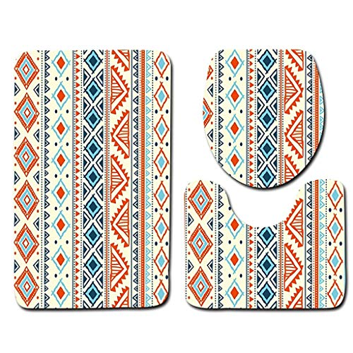 Weiliru 3PCS Bathroom Mats Set, Lid Toilet Seat Cover Mat, Soft Non-Slip Bath Mat