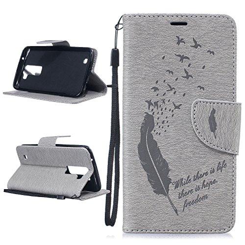 Para LG K10 (5,3 pulgadas) Cáscara ZeWoo® Carcasa y Funda de PU Piel - BF060 / life hope freedom (marrón) BF062
