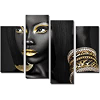 4 Pieces Abstract Poster Printed Golden Egyptian Queen Beauty Black Woman Portrait Wall Art Canvas Print Frame Picture Painting for Office Hallway Home Decor Gift Direct Hanging