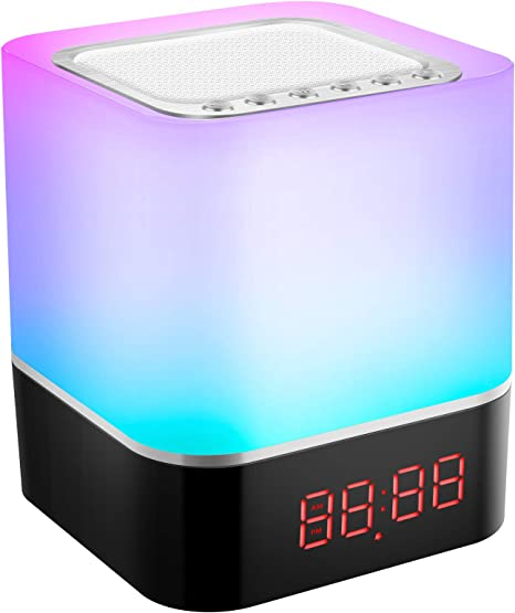 Tragbare Nachtlicht Touch LED Bluetooth Lautsprecher Wecker//TF Karte mit USB