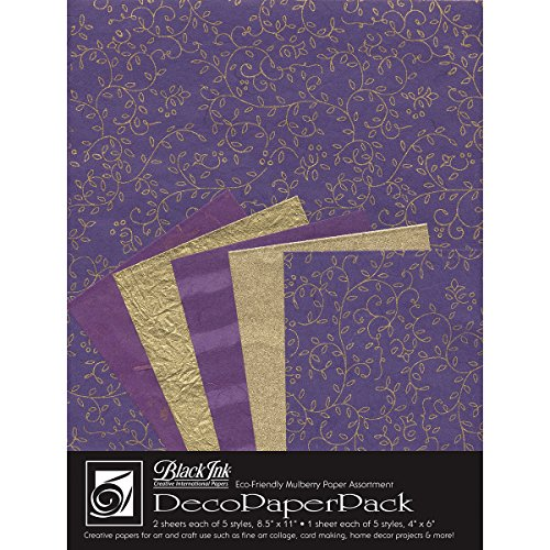 Black Ink Decorative Papers - Black Ink Decorative Paper Pack, 8.5 by 11-Inch, Napa Purple