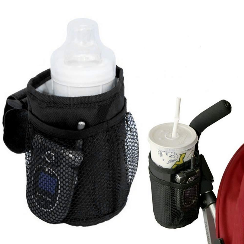 Portabotellas para Bebida Agua Biber/ón Bicicleta Silla de Paseo Silla de Ruedas Tela T/érmica Aislante e Impermeable de Oxford Negro Portavasos para Cochecitos