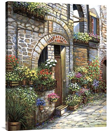 (Global Gallery Budget GCS-117459-2835-142 Sambataro Flower Pots at Spello Gallery Wrap Giclee on Canvas Print Wall Art)