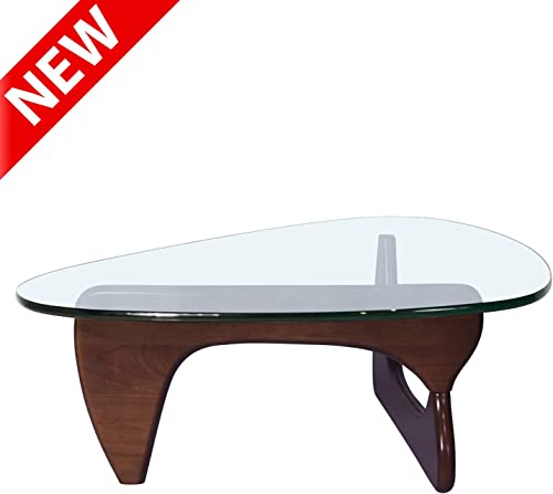 DANGRUUT Upgraded Version Elegant Triangle Glass Coffee Table Noguchi-Style, Mid Century Modern Coffee Table, Center Coffee Table with Solid Wood Base and Thick Clear Glass Top for Living Room, Study