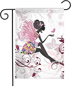 Bargburm Flower Fairy with Butterflies Small Garden Flag Vertical Double Sided Yard Outdoor Decor 12 X 18 Inch