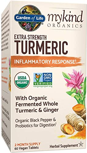 Garden of Life mykind Organics Extra Strength Turmeric Inflammatory Response 60 Tablets-100mg Curcumin 95 Curcuminoids Black Pepper, Probiotics, Organic Non-GMO Vegan Gluten Free Herbal Supplement