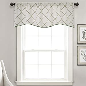 "vctops Geometric Embroidered Curtain Valance Farmhouse Window Curtains Valance for Kitchen Living Room, One Panel (52""x18"",White Green)"