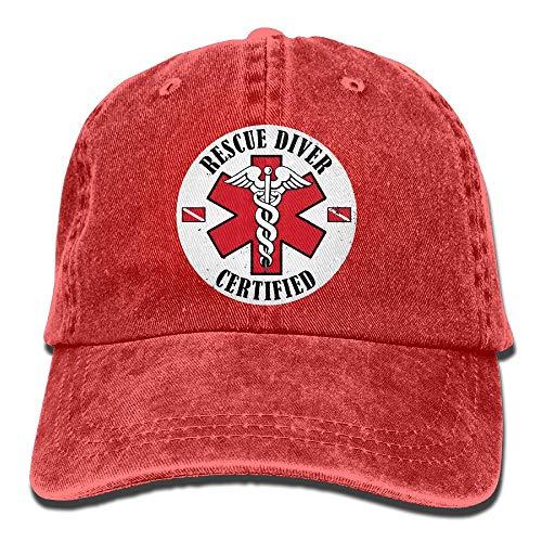 Diver Hat (SHENQINGWENEN Rescue Diver Certified Adult Dad Hat Baseball Hat Vintage Washed Distressed Cap)