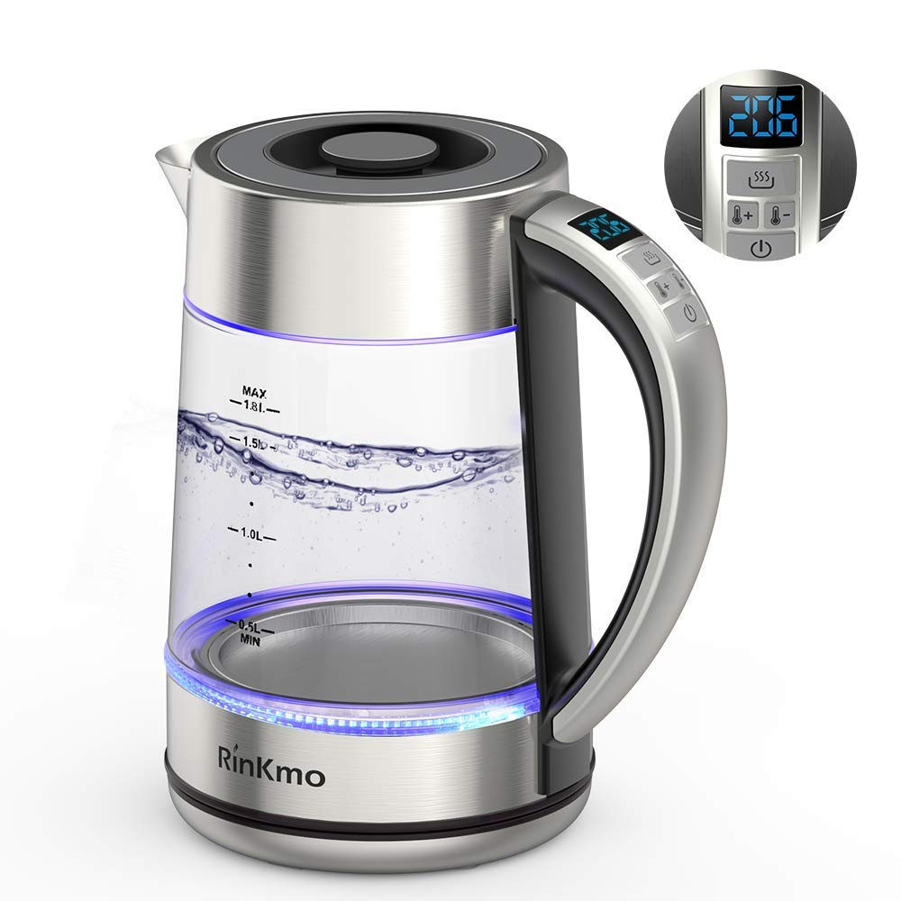 RinKmo Electric Kettle(BPA-Free),Fast Boiling Glass Tea Kettle (1.8L),Kitchen Kettle Pot for Tea Coffee with Blue Led,Auto Shut-Off & Boil-Dry Protection,Digital display electric kettle