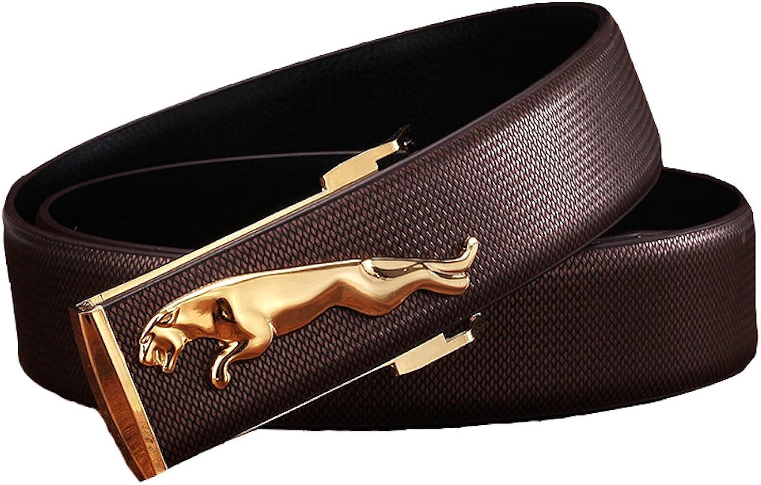 JAGUAR Gold Hebilla Cuero Genuino Marrón Cinturón Hombre: Amazon ...