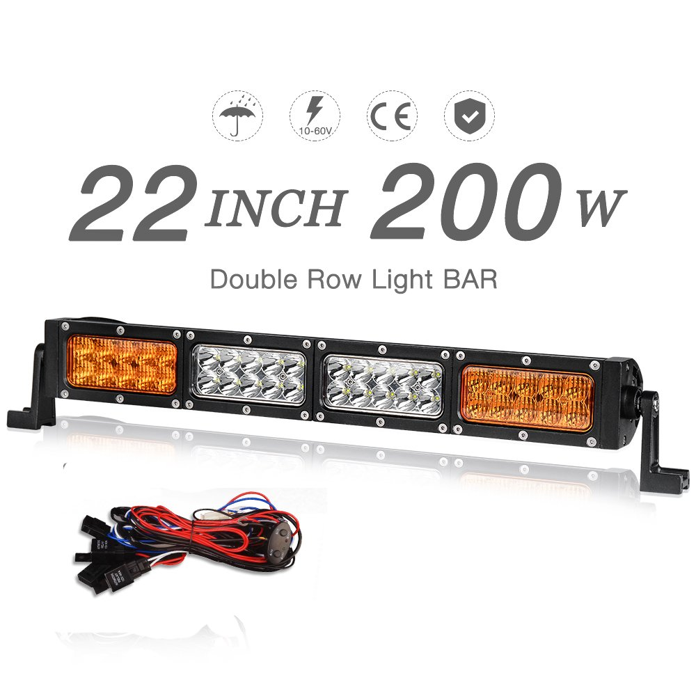 "Amazon.com: 22"" LED Light Bar Amber White Dual Color 200W 20000LM ..."