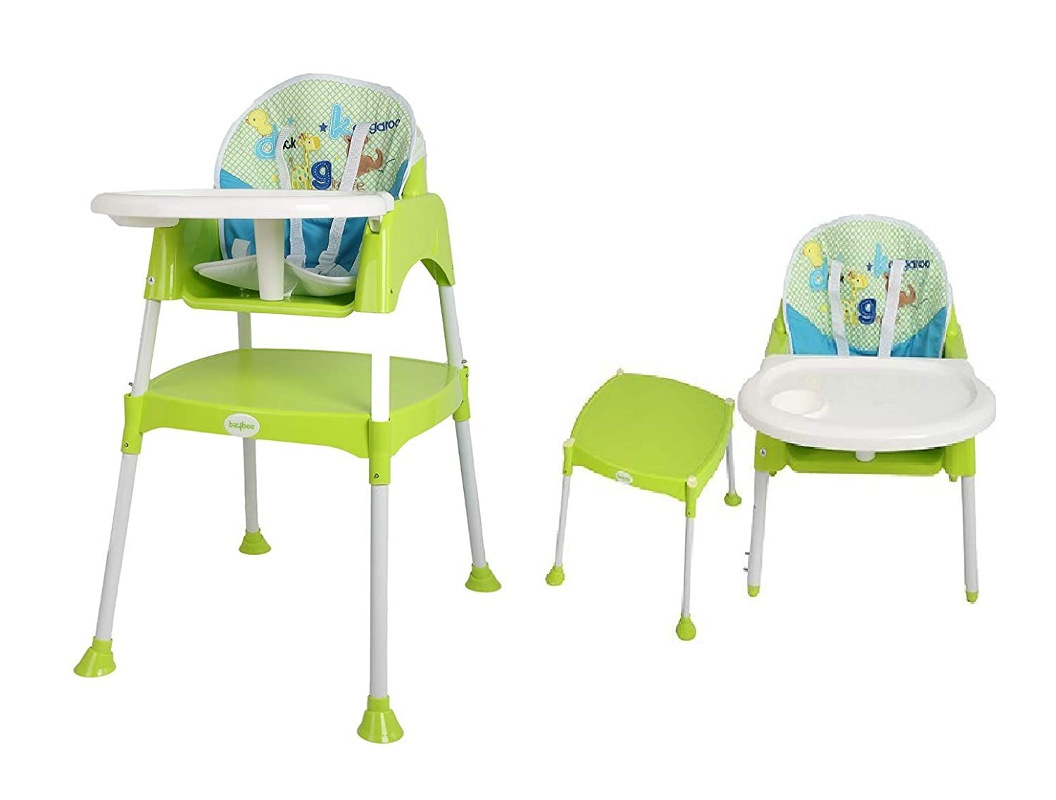BAYBEE Little Miracle Convertible Baby High Study Table Feeding Chair with Cushion (Green)