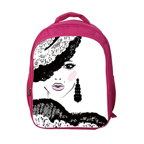 e72beaf725b7 iPrint School Bags Kid's Backpacks Customizable,Teen Room,Baroque Abstract  Woman Face and Patterned