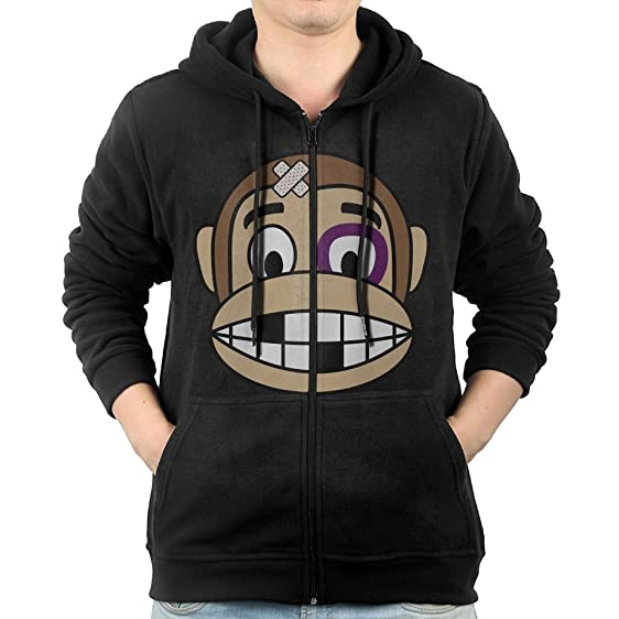 Monkey Emoji Fighter Mens Hooded Sweater Pocket Zipper Hooded ...
