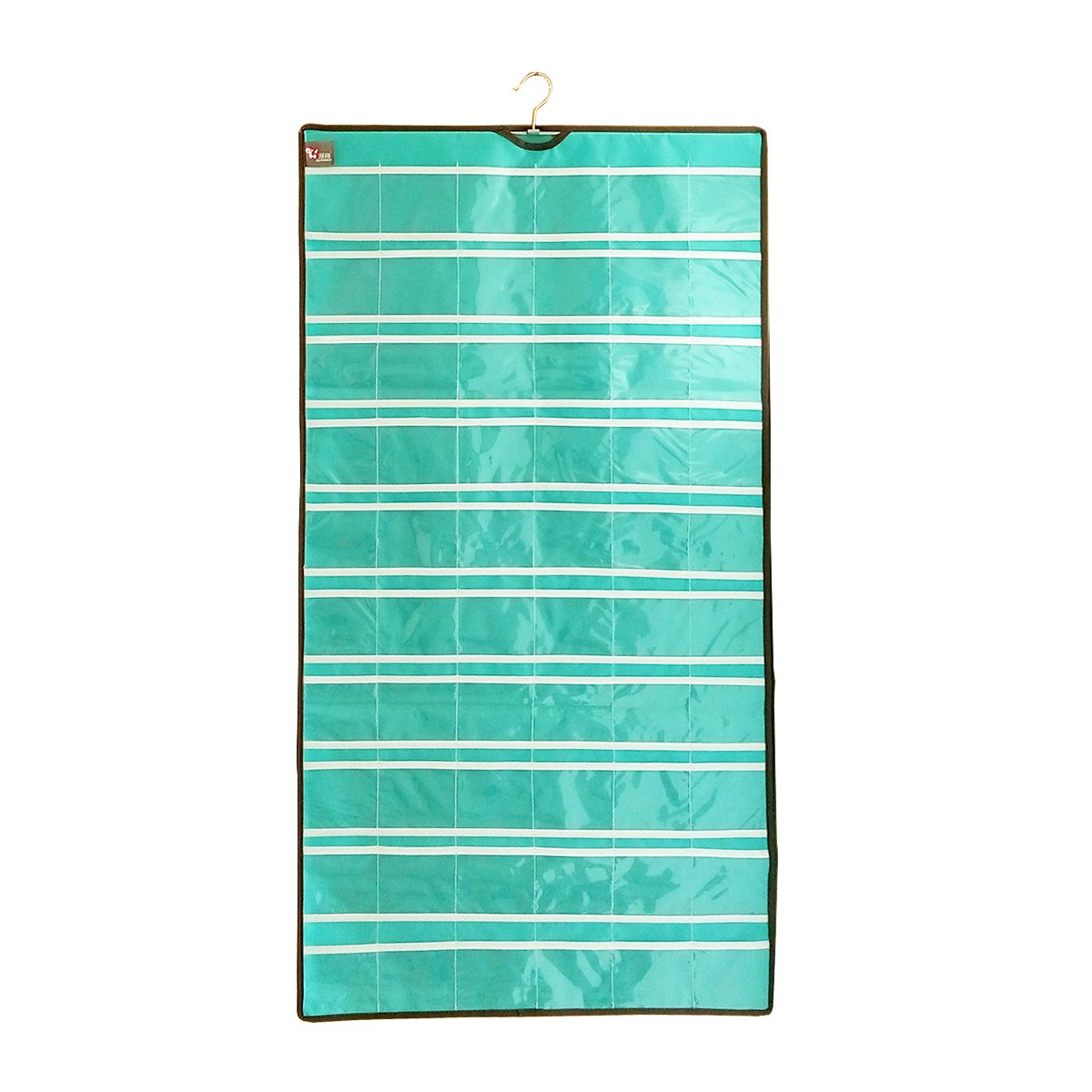 60 Classroom Pocket Chart Pockets Hanging Jewelry Organizer Earrings Holding with Hanger Closet Storage (Cyan)
