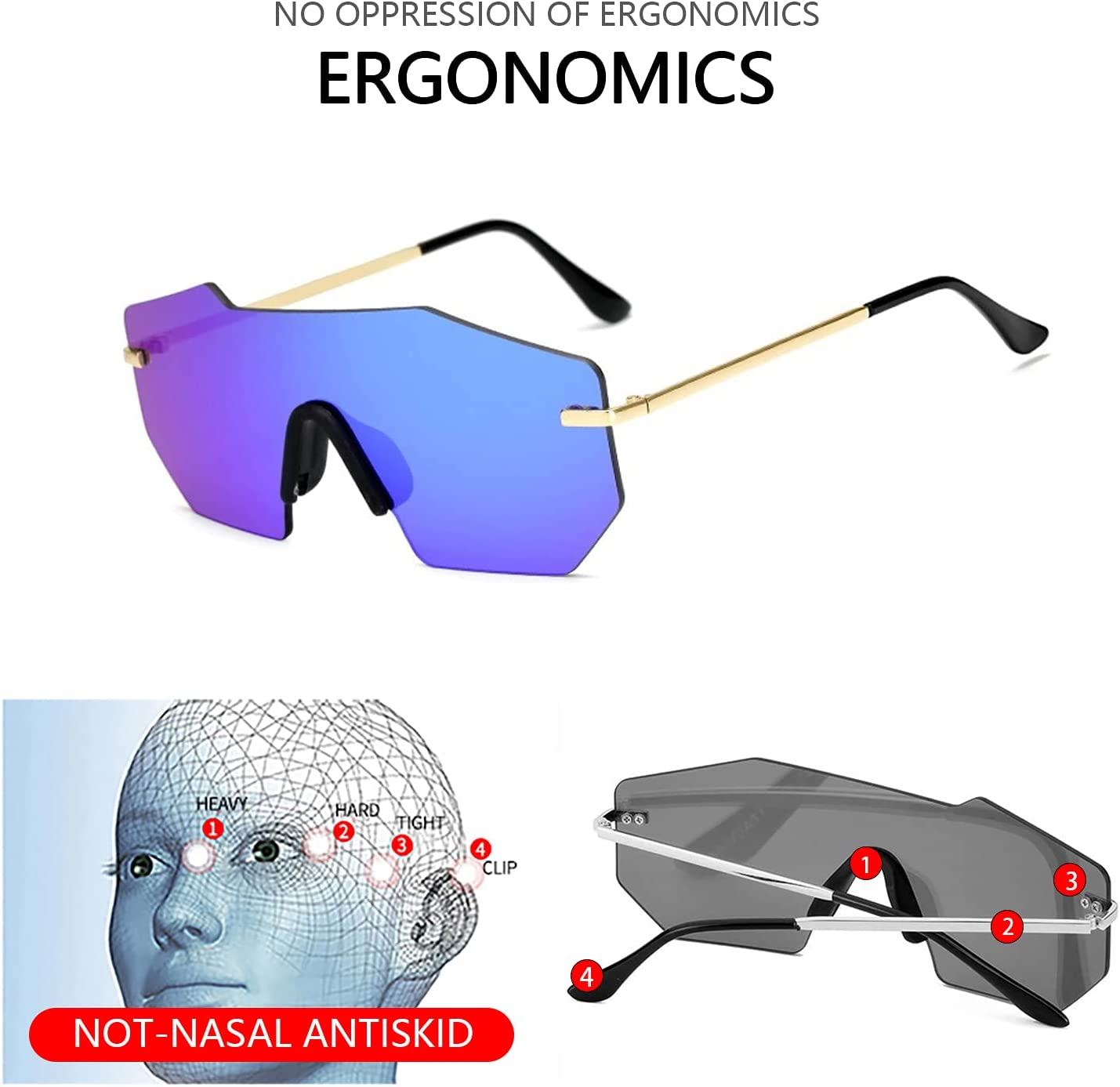 kexle Retro Polygonal Style Sunglasses Sports Eyewear UV400 Polarized Sunglasses for Men and Women Outdoor Windproof Cycling Glasses