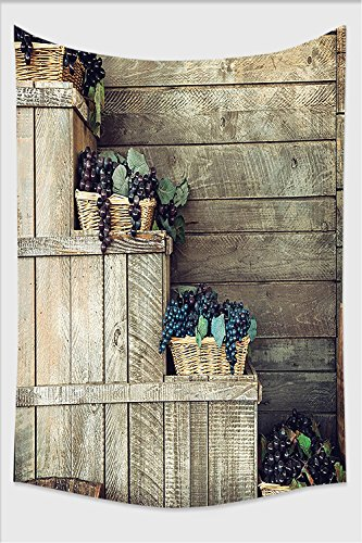 Nalahome-Grapes Various in Wooden Wicker Basket Ivy Viniculture Gourmet Organic Photo Brown Purple Tapestry Wall Hanging Wall Tapestries 90.5L x 59W Inches