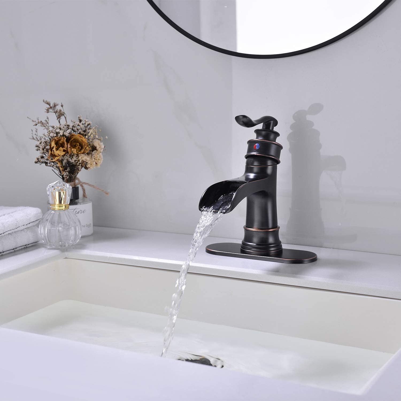 Lead Free Brass Bathroom Sink Faucet,Oil Rubbed Bronze Bathroom Faucet,Bronze Bathroom Faucet Drip Free Waterfall Bathroom Faucet Avola Bathroom Faucet