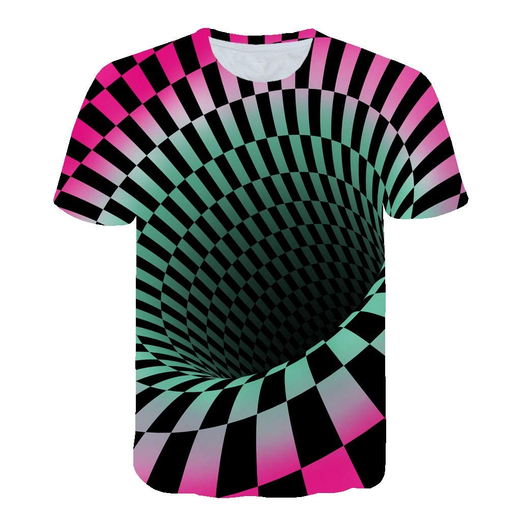 Lomsarsh Men's T-Shirt Top, 3D Stereo Printing Tops Summer T-Shirt with Round Neck Short Sleeve [Rotating Bottomless Pit] Attracting Attention Short Sleeve T-Shirt Top Blouse T-Shirt for Men Boys