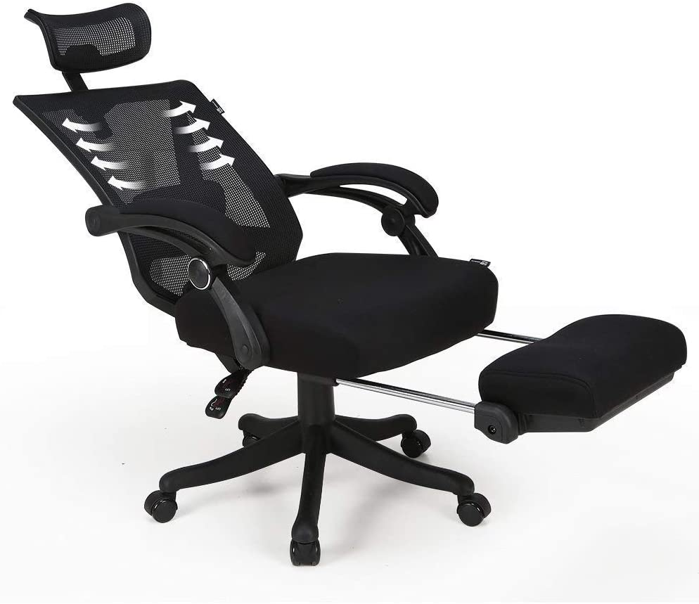 Hbada Reclining Office Desk Chair  Adjustable High Back Ergonomic Computer  Mesh Recliner  Home Office Chairs with Footrest and Lumbar Support, Black