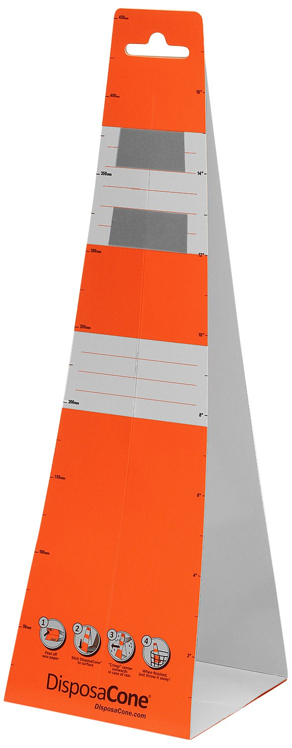 DisposaCone 1872 Recyclable Temporary Disposable Traffic Safety Barricade, 18'' Height, MUTCD Approved (Box of 36)