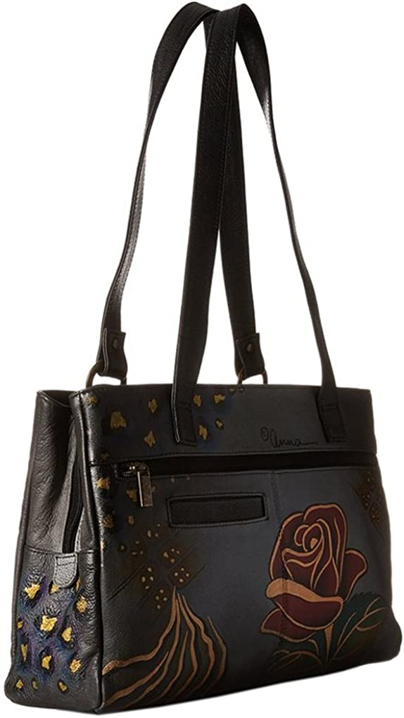 Anna By Anuschka Tote Handbag Free Purse Holder Hand Painted Design on Real Leather