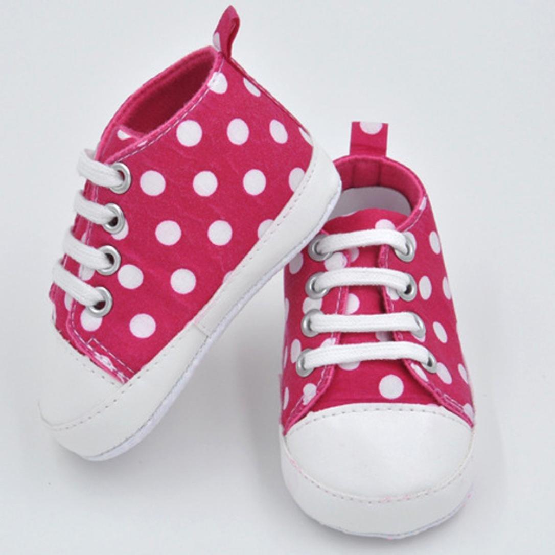 Iuhan Toddler Baby Prewalker Dot Sneaker Anti-slip Soft Sole Infants Canvas Shoes